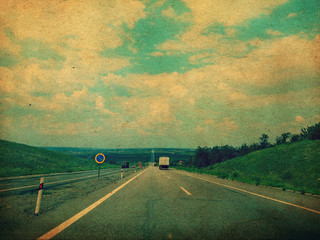 long road, highway in Ukraine, Europe