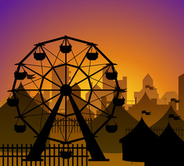 Ferris wheel and circus silhouette in front of a city