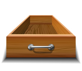 Opened wood drawer