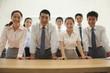 Office team standing near the desk, portrait