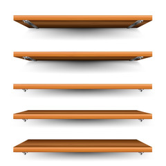 Wood shelves set