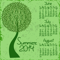 2014 summer calendar with seasonal tree