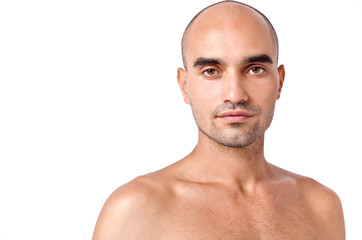 Bald Caucasian handsome man. Close up. Isolated on white.