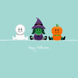 Halloween Mummy, Witch & Pumpkin Retro