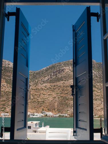 Traditional greek windos on Sifnos island, Greece