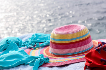 Swimwear and Colorful Hat