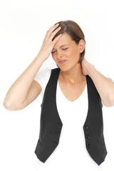 junge Frau mit Kopf- und Nackenschmerzen