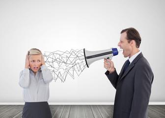 Businessman holding a megaphone