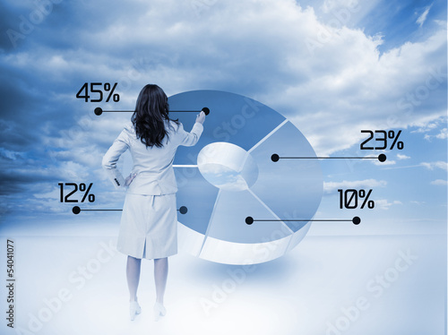 Businesswoman drawing a pie chart