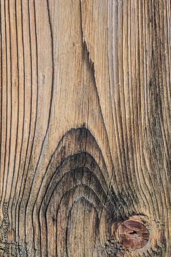 Old Pine Wood Plank With Knot Detail