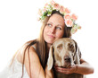 Beautiful smiling woman with dog