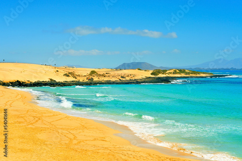 beach in Natural Park of Dunes of Corralejo in Fuerteventura, Sp