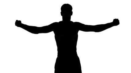 Silhouette of a man lifting dumbbells on white background