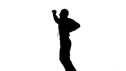 Silhouette of a man jumping on white background