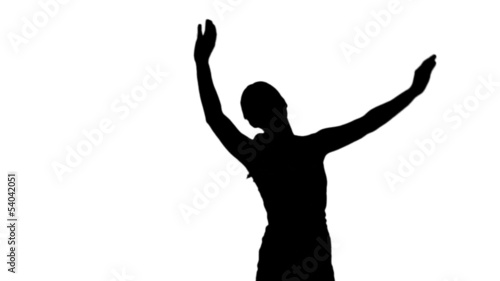 Silhouette of woman raising arms on white background
