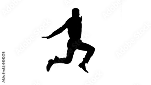 Silhouette of man jumping on white background