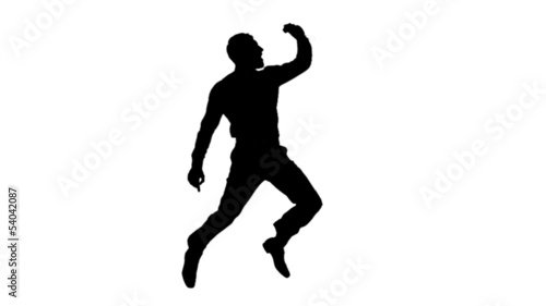 Silhouette of a jumping man on white background