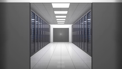 Animation of a trip through data center with servers