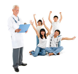Asian senior medical doctor and patient family