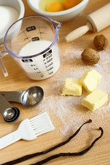 Cooking utensils, spices and food ingredients.