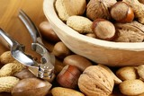 Wooden bowl with nuts