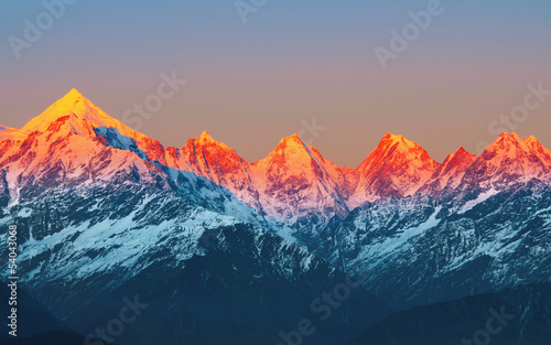 "sunset on Mountain Peaks ""panchachuli In Indian Himalaya"