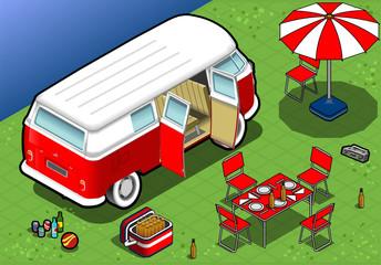 Isometric Camping Van in Rear View