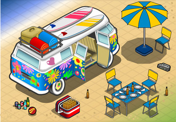 Isometric Rainbow Van in Camping in Rear View