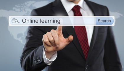 Businessman with Toolbar Online Learning