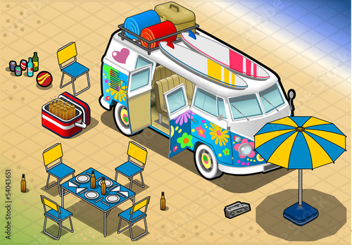 Isometric Rainbow Van in Camping in Front View