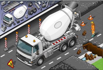 Isometric Cement Mixer Truck in Front View