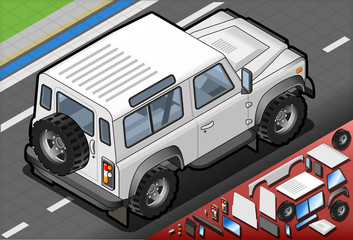 Isometric White Cross Country Vehicle in Rear View