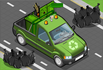 Isometric Garbage Pick Up in Front View