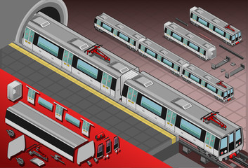 Isometric Metro Wagons in the Station