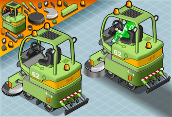 Isometric Mini Cleaner Machine with Man at Work in Rear View