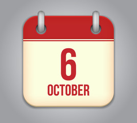 Vector October calendar app icon