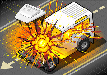 Isometric White Cross Country Vehicle in Explosion