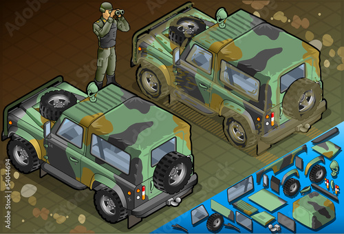 Isometric Military Jeep with Soldier in Rear View