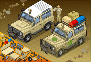 Isometric Safari Jeep in Front View