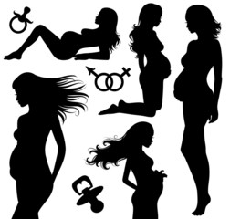 Set of silhouettes of a pregnant woman.
