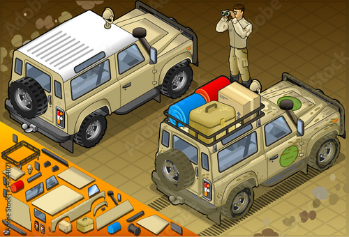 Isometric Safari Jeep in Rear View