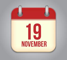 Vector November calendar app icon