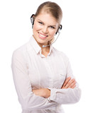 Young smiling support phone operator in headset, isolated