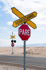 Railroad crossing, Atacama desert (Chile)