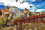 ancient Cuenca town, view with bridge, Spain