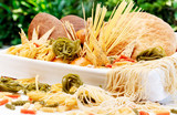 Different kinds of pasta for italian culinary.