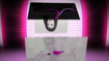 Revolving screens showing fashion situations on pink background