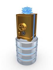 Golden safe and symbol of database.