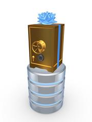 Golden safe and symbol of database.