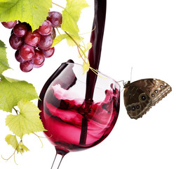 Ripe grapes and wine glass